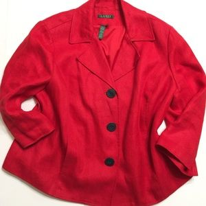 Ralph Lauren Women's Red Linen Blazer 3/4 Sleeve L
